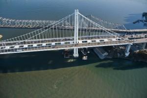 Aerial photos of the Oakland span of the new Bay Bridge taken