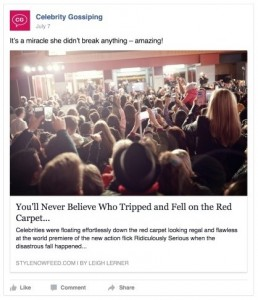 An example clickbait article from Facebook.