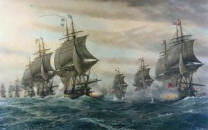 Two fleets in lines of battle, this time at the Battle of the Chesapeake. Courtesy of https://en.wikipedia.org/wiki/Battle_of_the_Chesapeake#/media/File:BattleOfVirginiaCapes.jpg