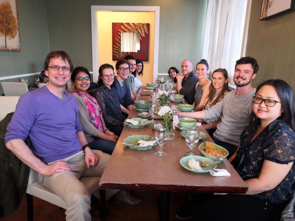Farewell dinner for Jessy van Asperen, a visiting PhD student from Utrecht