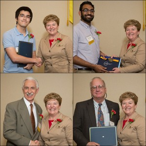 Receiving congratulations from Dean Boor are (clockwise from upper left) Joshua Kaste, Dhruv Patel, Kevin C. Nixon, William L. Crepet. Not pictured: Sarah Nadeau.