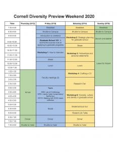 grid showing DPW schedule