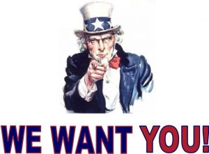"""Uncle Sam saying """"We Want You!"""""""