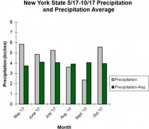 graph showing average precipitation in NYS from may to november 2017