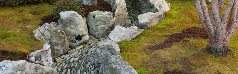 Photo of a stone stream in a rock garden