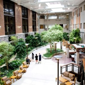 The atrium of the Henry Ford West Bloomfield Hospital outside Detroit
