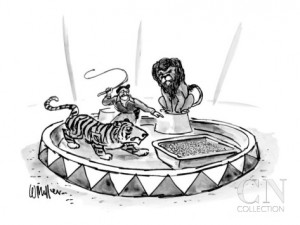 Lion tamer, with raised whip, directs a tiger toward a large litter box. - New Yorker Cartoon  By: Warren Miller