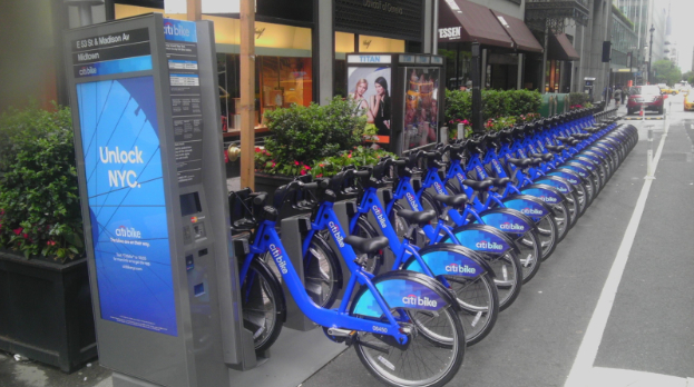 A photo of a Citibike station in New York -- credit to Wikimedia user Jim.henderson