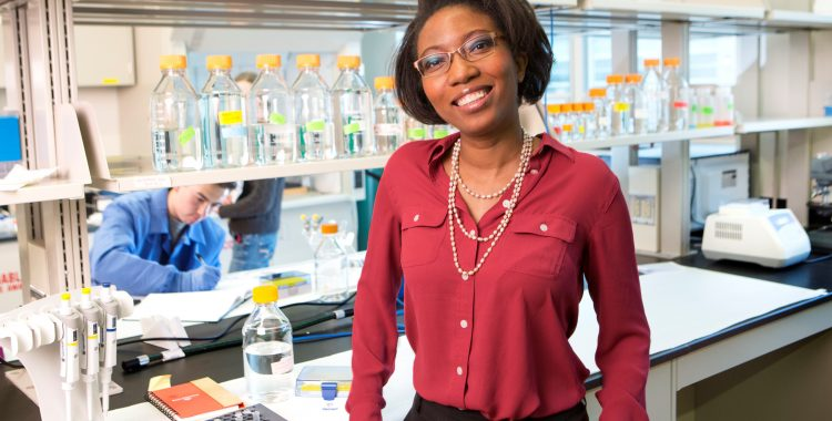 Prof. Ludmilla Aristide in her lab