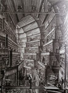 """The Library of Babel"" by Jorge Luis Borges, illustration by Erik Desmazieres"