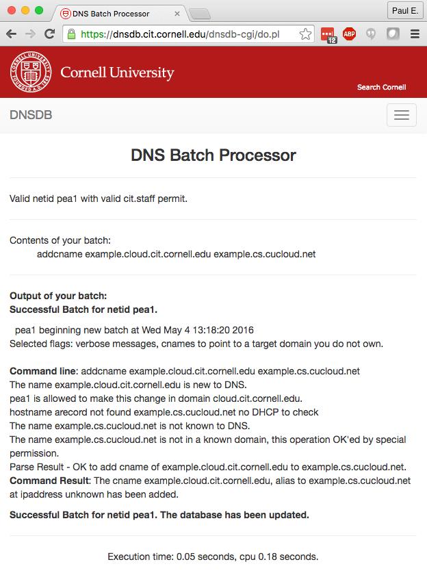 Cornell Batch Processor Output