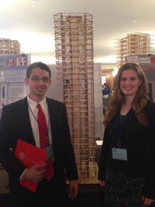 President Julian Carter (left) and Construction Co-Leader Shannon Spiers (right) gave a ten minute presentation to the judges at competition in Boston.