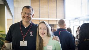 An alum and a current student together during the latest Coffee and Conversation event