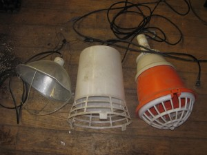 Three Styles of heat lamps least expensive and riskiest (left) to most expensive and safest (right).