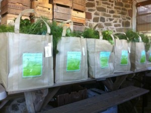 Shareholder bags ready to be picked up. Photo by Carla Snyder