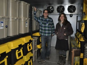 Agriculture Marketing Specialist Matthew LeRoux and Project Coordinator Susannah Spero at the Ithaca Meat Locker.