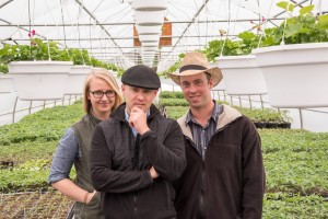 Cordelia Hall and Judson Reid (center) of CCE's Cornell Vegetable Program collaborate frequently on research trials with Penn Yan, New York Mennonite farmer Nelson Hoover.