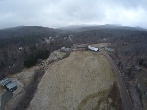 An aerial view of the Long Winter Farm with a 50 ft buffer around the Miller Brook. Photographer: Land Trust Allliance