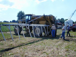 Branton Farm's Rogator set up for interseeding crops.