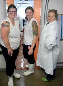 Left to right: Creamery Manager and Head Cheesemaker Leslie Goff (center) with Consider Bardwell owner Angela Miller (right) and cheesemaker Anastasia Barrett.