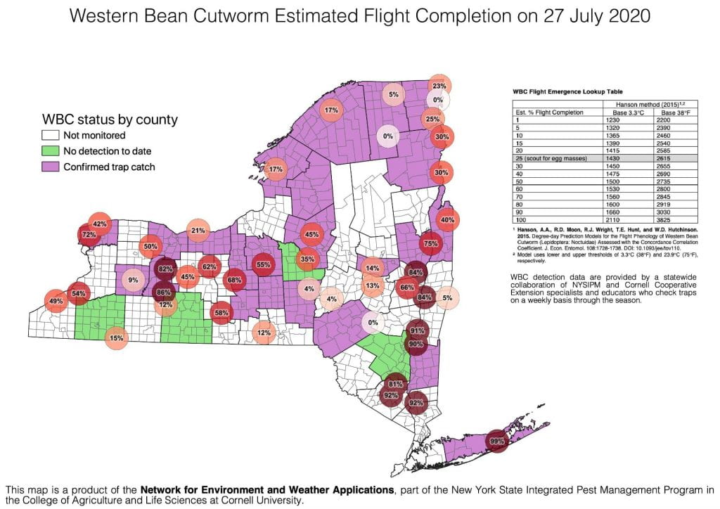 This is a new your state map of the estimate of the completion of flight by western bean cutworm
