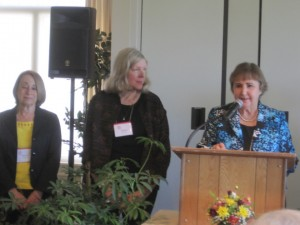 L to R; 2013 - 14 Board Members Sandi Lowe, Margaret Roberston (Past President 2011 - 12)