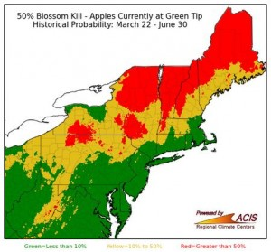 50% blossom kill risk map for apple trees at green tip on March 21, 2016.