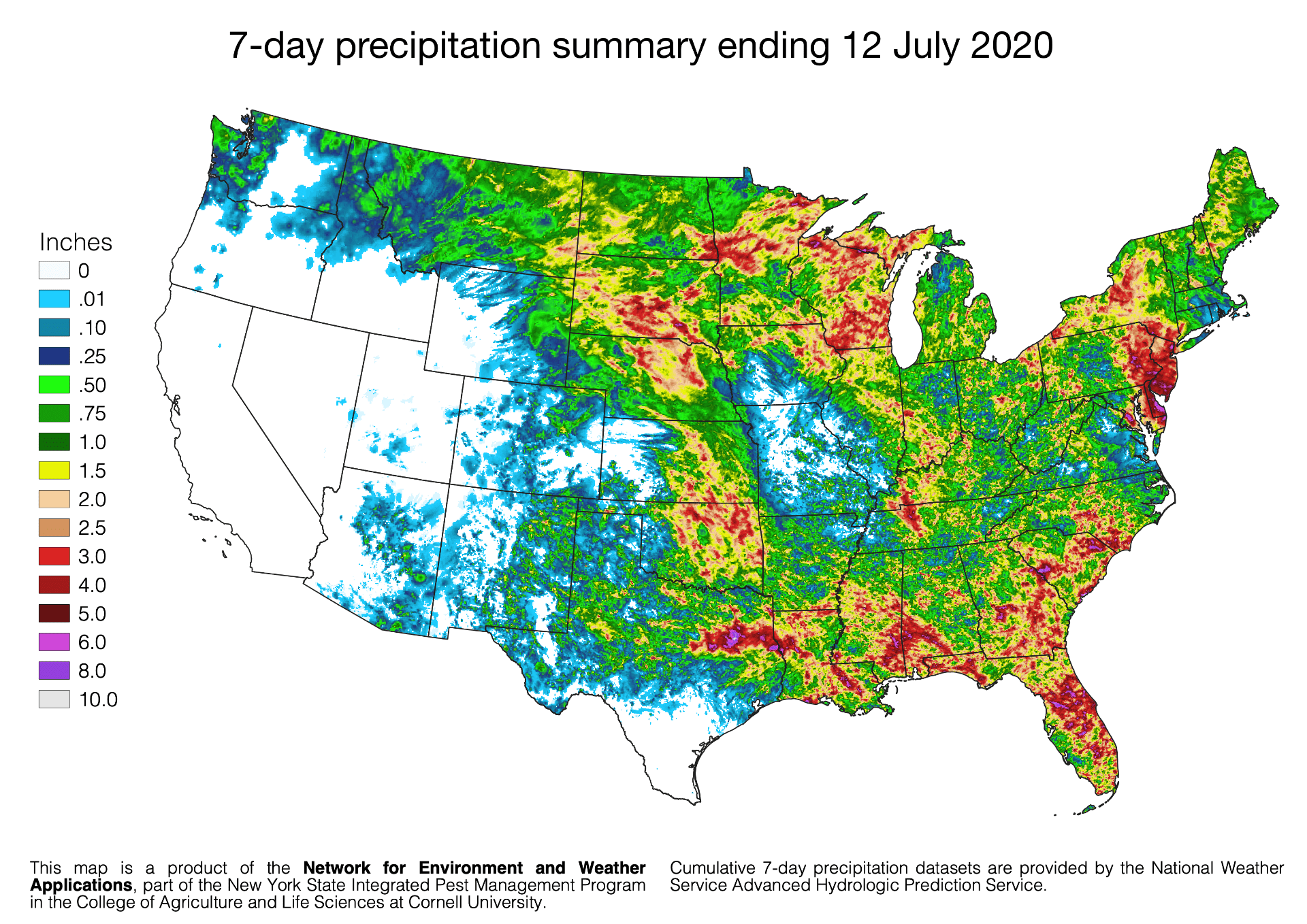 7-day rainfall totals ending 13 July 2020 for the continental United States.