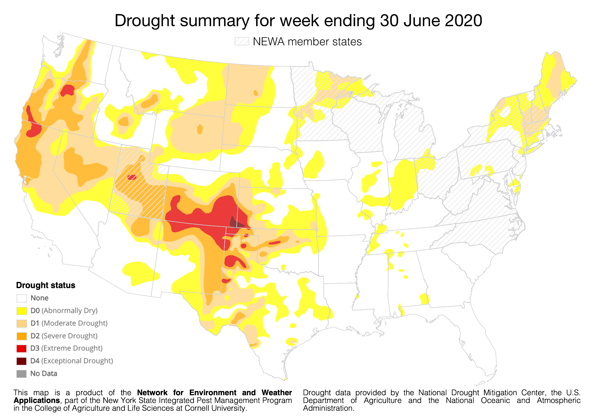 Drought map provided by the National Drought Mitigation Center at University of Nebraska for 30 June 2020.