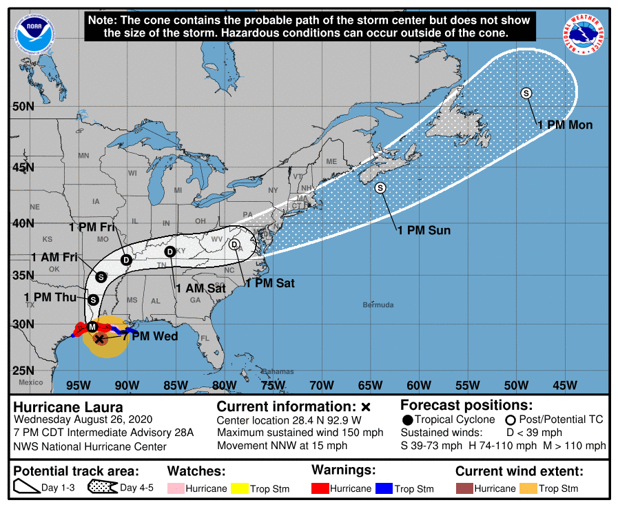 Image from National Hurricane Center of projected 5 day storm path