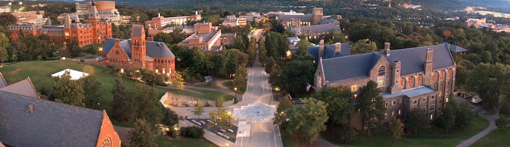 Ho Plaza looking south from atop McGraw Tower. ©️Cornell University Marketing Group