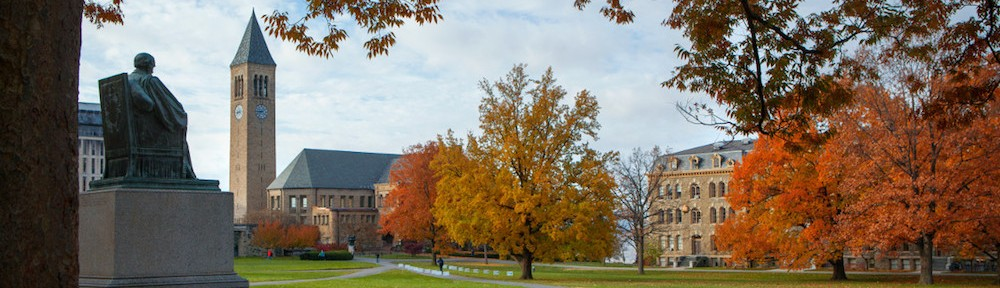 The Arts Quad in fall with the statue of A. D. White and McGraw Tower in the distance. (c) Cornell University Marketing Group