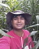 Avinash Karn's headshot, with giant corn plants in the background