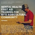 Mental health first aid training for NY's agricultural community