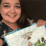 Abbie poses with Organic Valley schwag