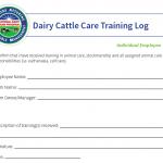 National FARM Program Dairy Cattle Care Training Log