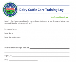 National FARM Program Dairy Cattle Care Training Log