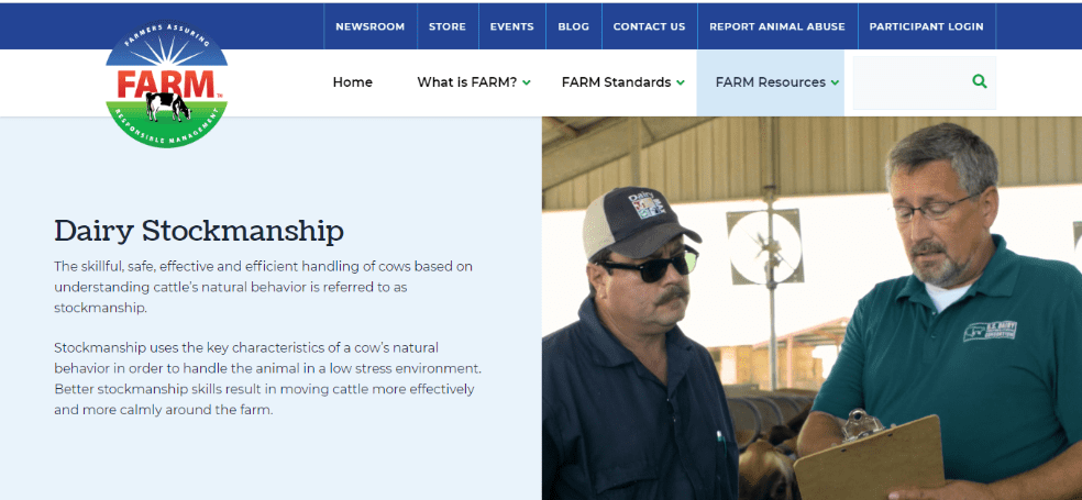 National FARM Program Dairy Stockmanship training resources