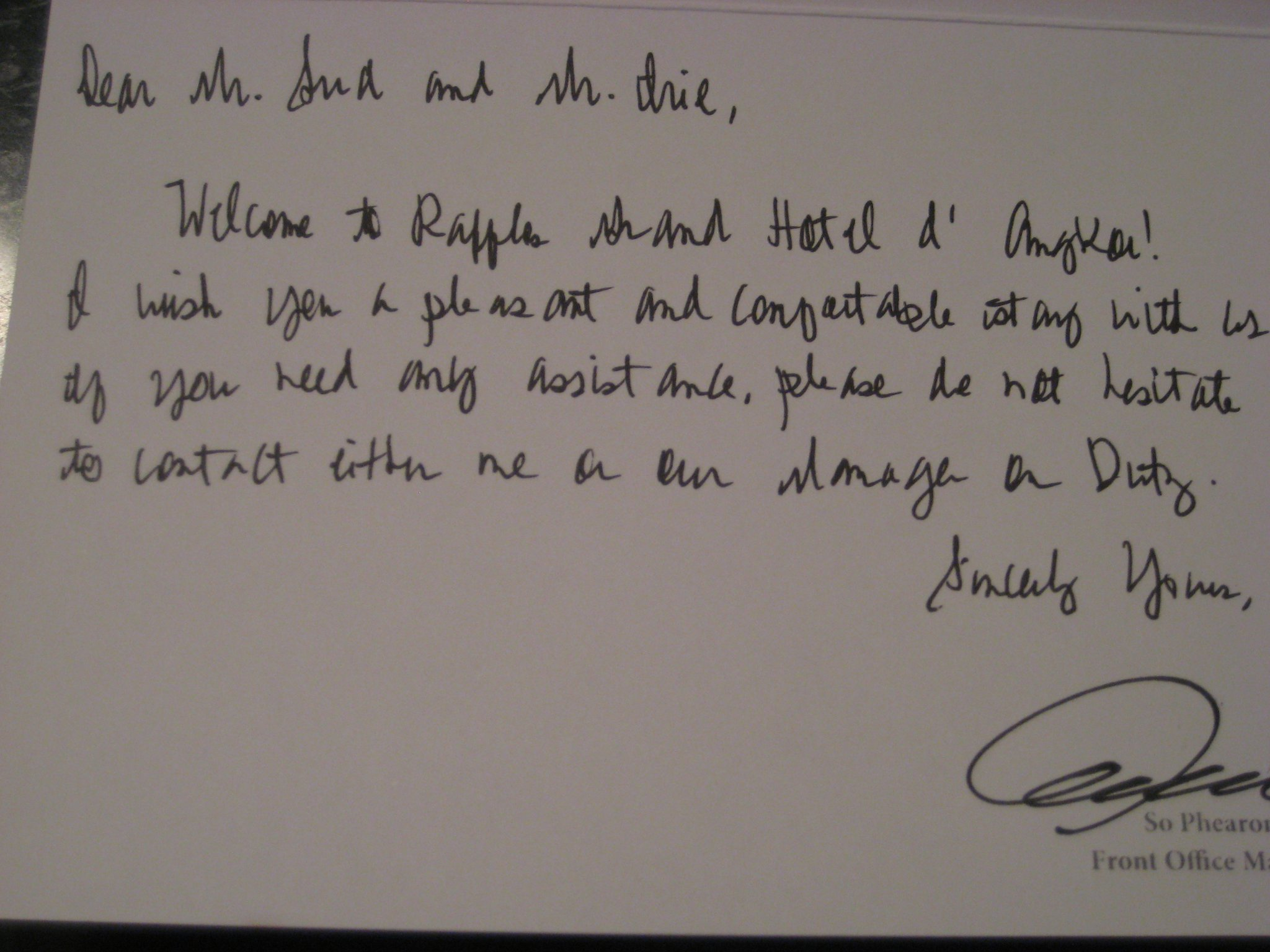 Day 1 arrival tour of raffles grand hotel dangkor cornell personalized welcome letter altavistaventures Choice Image