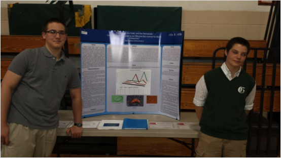 Two Junior High School students received an environmental award at the Greater Capital Region Science and Engineering Fair for a doing a bioassay that showed the nematodes were lethal to black cutworm.