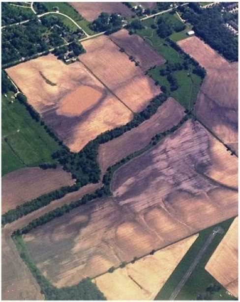 Figure 2. Weather and soil health properties interact to influence soil N dynamics. Such field-scale differences influence physical and biological factors that drive N mineralization and losses as shown in the aerial view of Ken Humpal's farm.