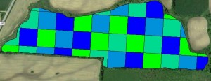 Figure 3. The experimental prescription divides the field into two acre blocks and randomly assigns each block one of four seeding rates.