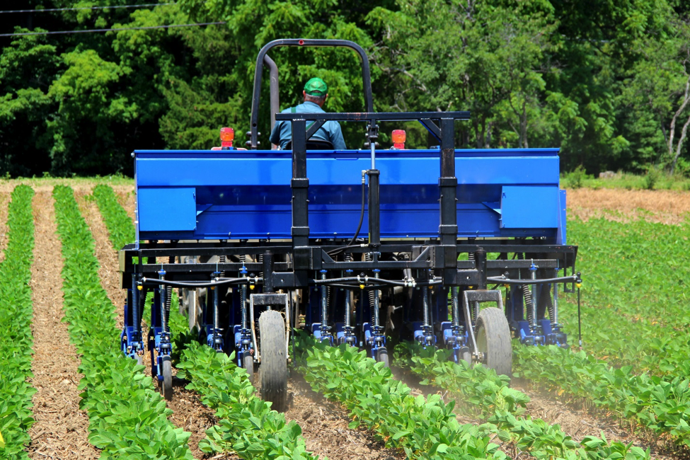Fig. 1. Paul Stachowski drives the InterSeeder through soybeans at the Cornell Musgrave Research Farm in Aurora, NY.