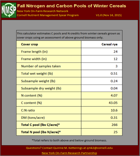 "Figure 3: Cornell University ""Fall N and Carbon Pools of Winter Cereals"" excel spreadsheet calculator."