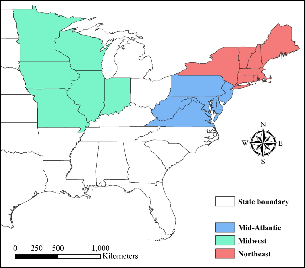 Figure 1. Mid-Atlantic, Midwest, and Northeast regions of the United States. Soil health samples from each region were aggregated into sub-datasets for statistical analyses and regional comparisons.