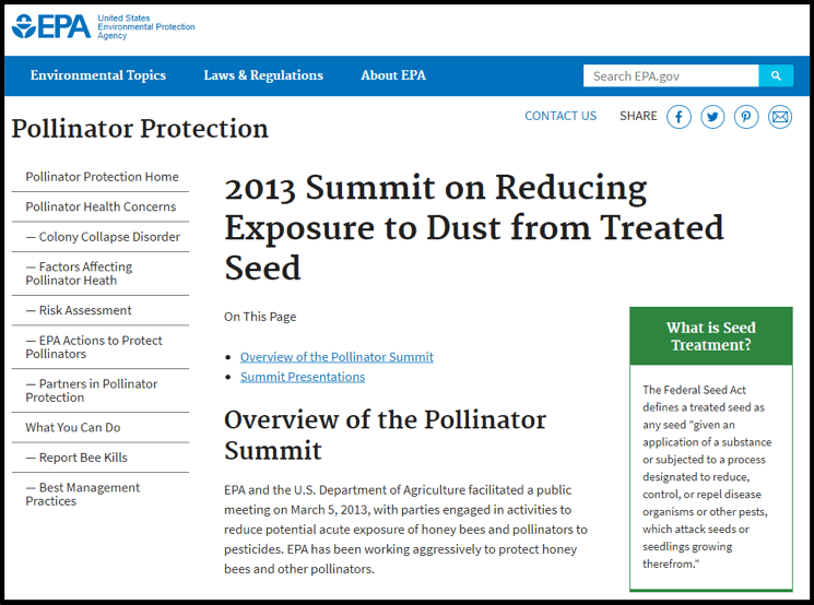 EPA Website Screenshot on Pollinator Protection