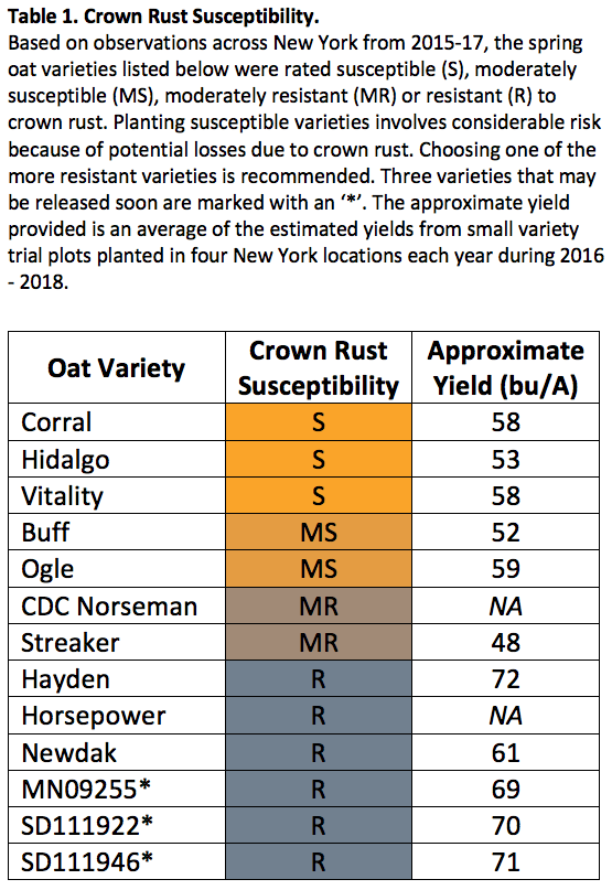 Crown rust susceptibility table