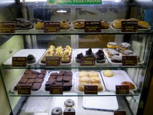 Cupcakes and brownies at the local sweet shop