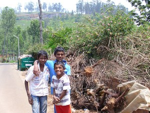 This group of boys lives in the first household we visited during the day. Behind them are piles and piles of biowaste stacked by a panchayat dumpster that has not been emptied in the 2 months since its installation. Unfortunately, waste is littered all around the overfull dumpster as if it is not there at all.