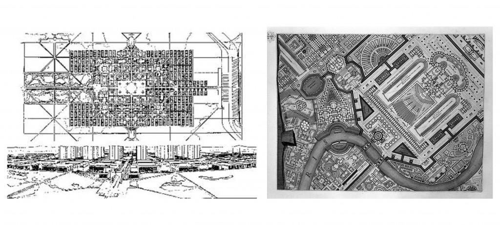 (From left) Le Corbusier's Ville Contemporaine, Piranesi's Campo Marzio